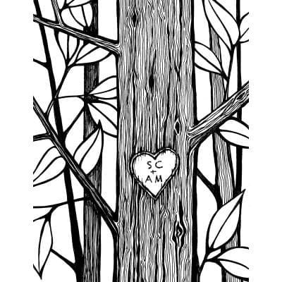 Carved Heart Tree