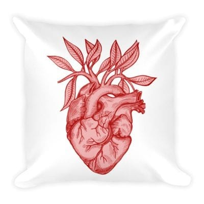 Anatomical Heart + Leaves Square Pillow