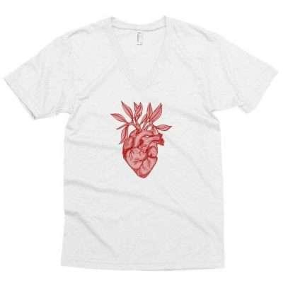 Pink Heart + Leaves Men's short sleeve v-neck