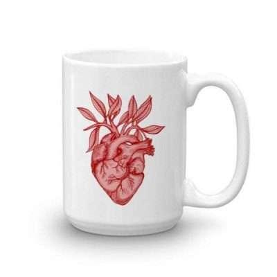 Anatomical Heart + Leaves Mug (15 oz)