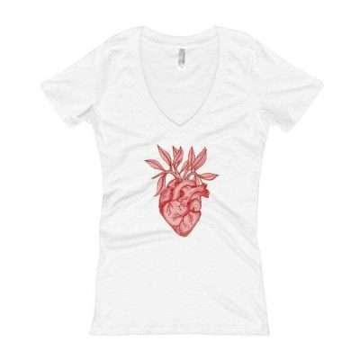 Pink Heart + Leaves Women's V-Neck T-shirt