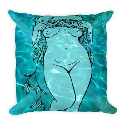 Lines + Curves Square Pillow – Water + Vine