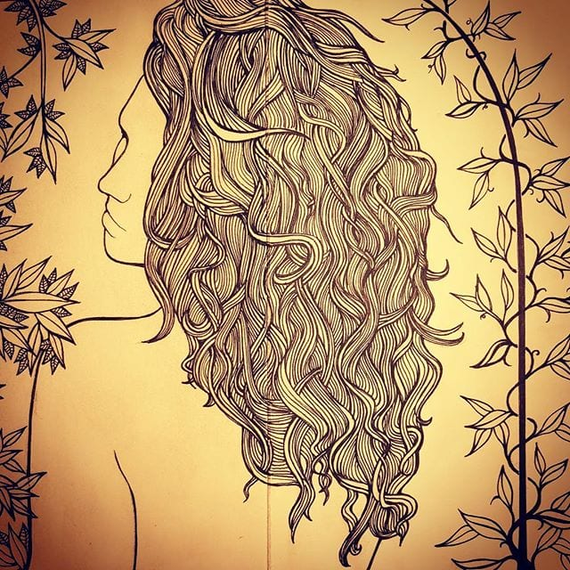 I could probably be happy just drawing hair and leaves forever.