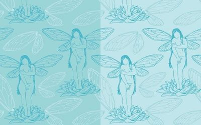 Today's pattern has a shy little cicada girl.