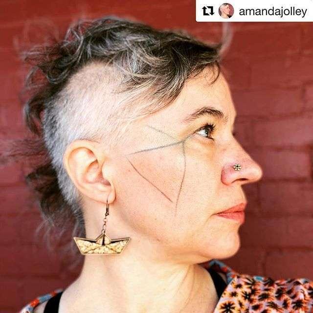 origami boat earrings
