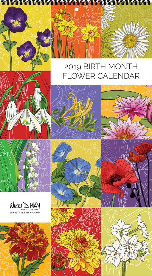 2019 Birth Month Flower Calendar