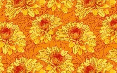 Making repeat patterns from my birth month flowers. First up, mums!