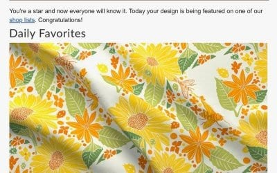I just got a notification that one of my fabric designs was featured on @spoonflower as a daily favorite. How cool is that?