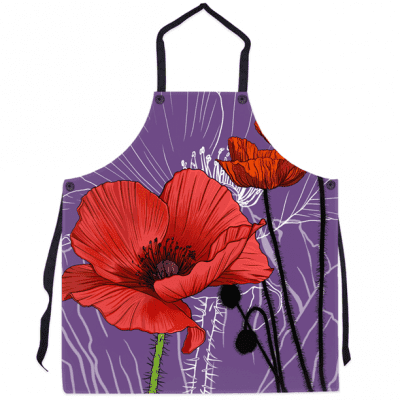 Apron - Poppy - August Birth Month Flower