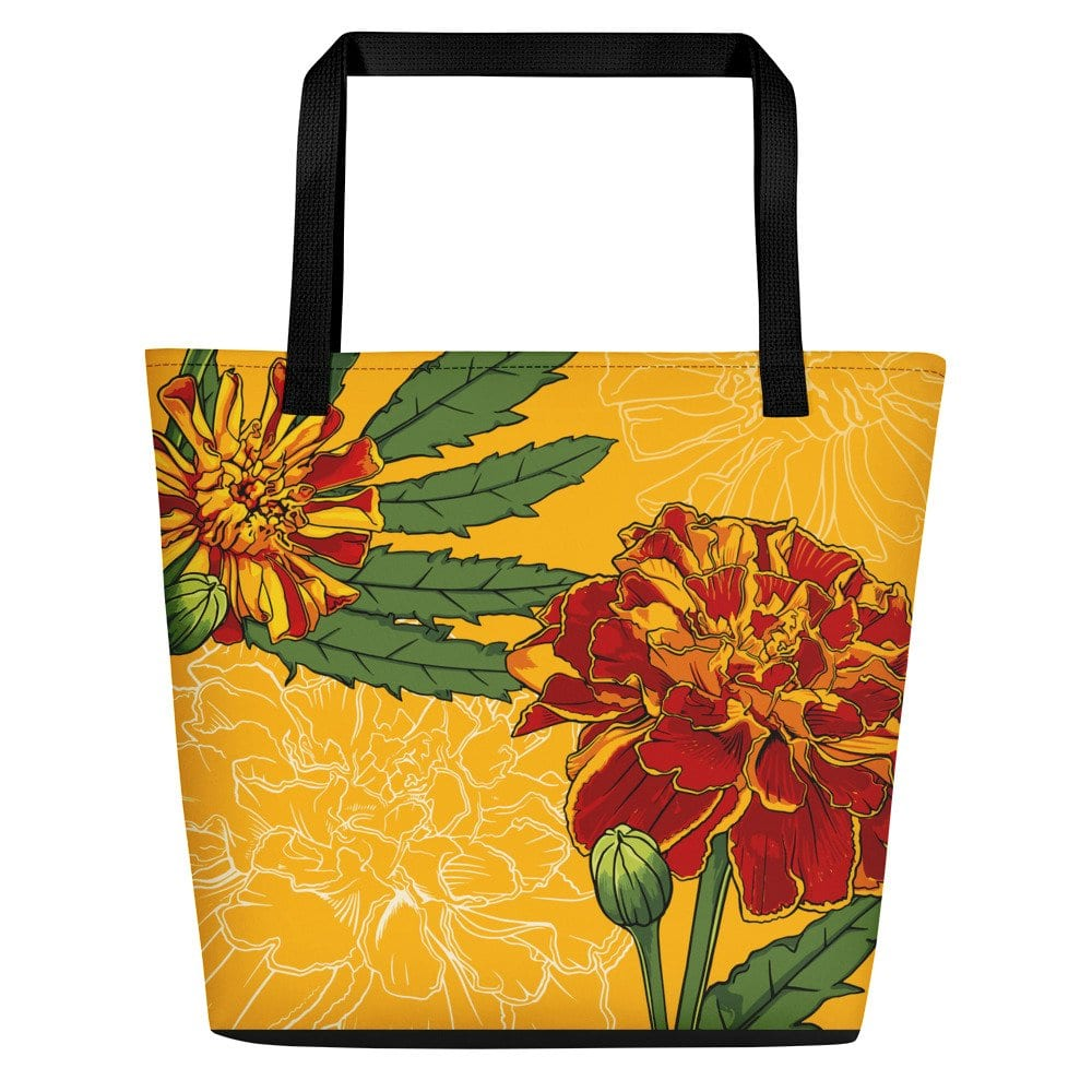 October Birth Month Flower Beach Bag Marigold Nikki D May