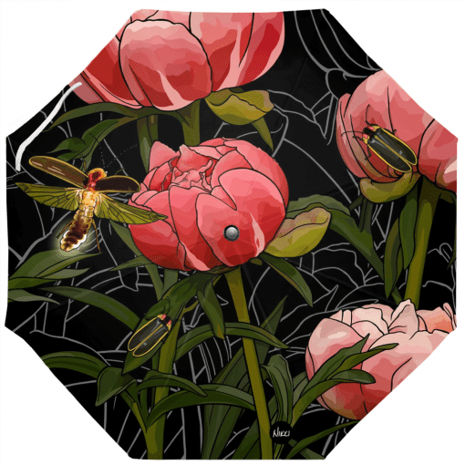 Peonies and Fireflies Umbrella