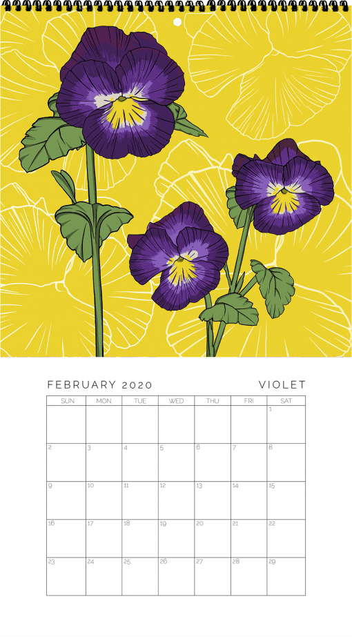 2020 Birth Month Flower Calendar - February
