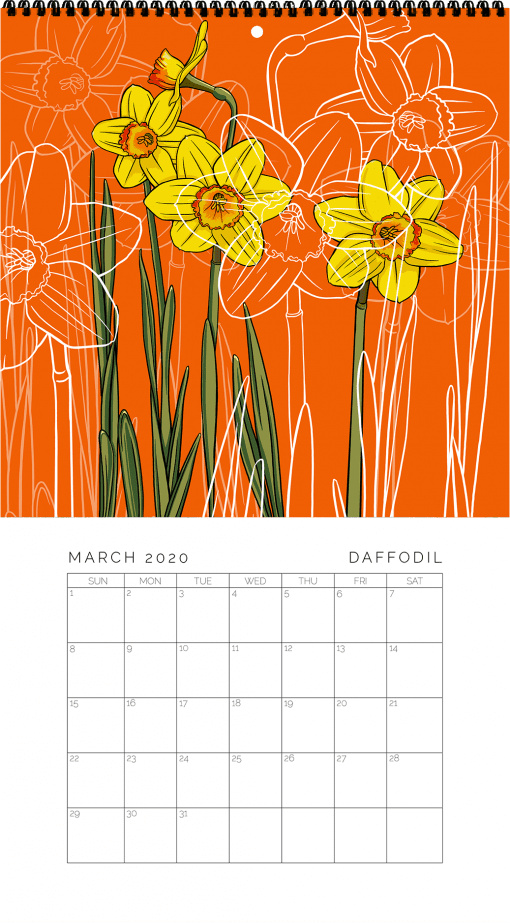 2020 Birth Month Flower Calendar - March