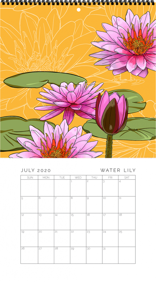 2020 Birth Month Flower Calendar - July