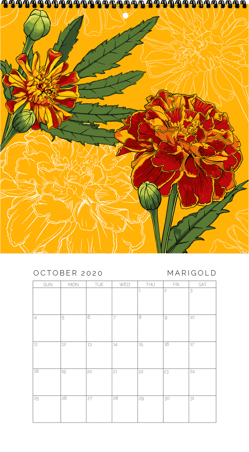 2020 Birth Month Flower Calendar - October