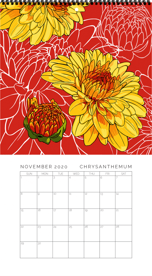 2020 Birth Month Flower Calendar - November