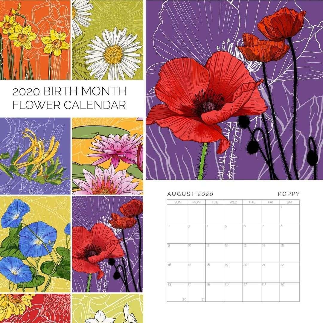 2020 Birth Month Flower Calendar