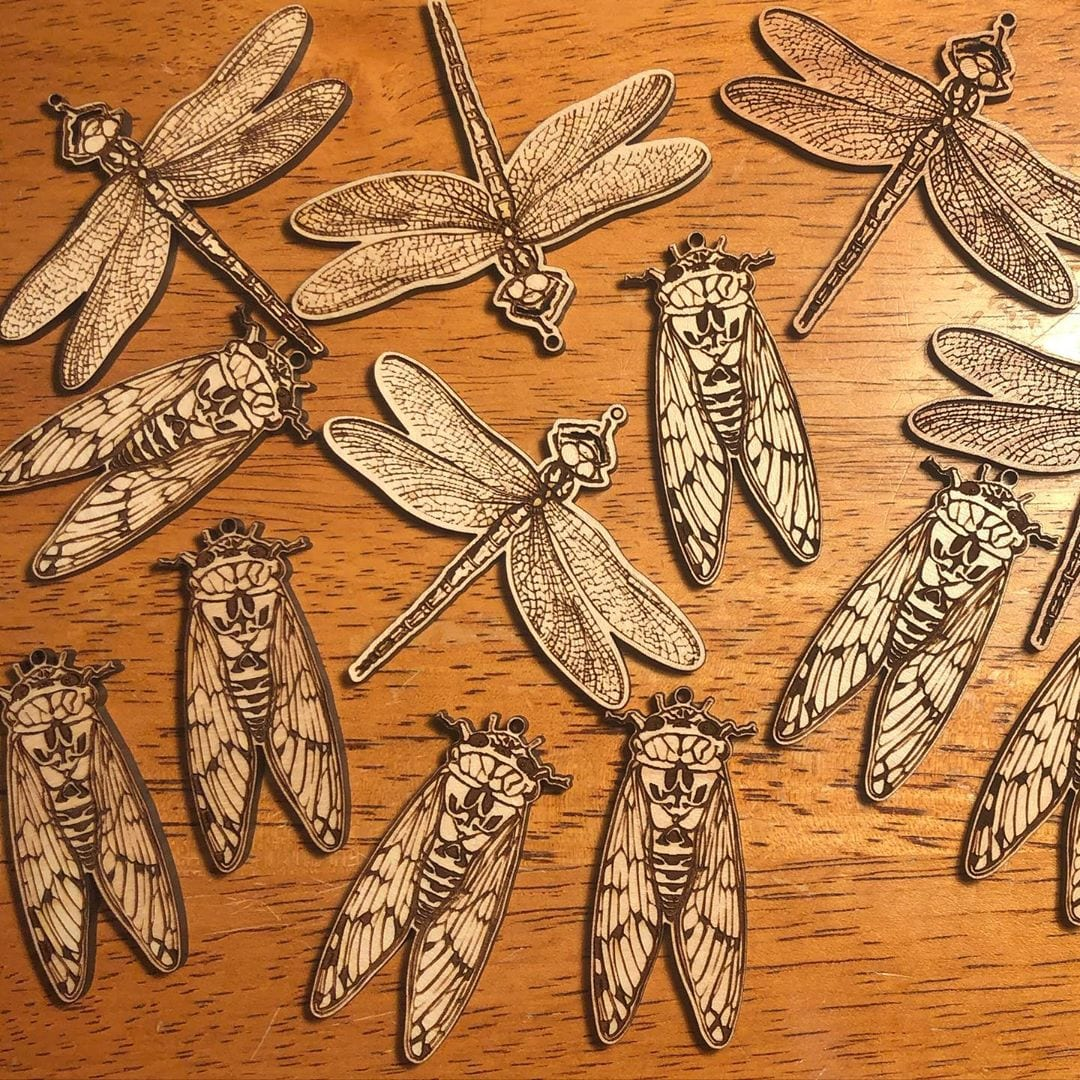 My desk is swarming with laser cut and engraved insects…