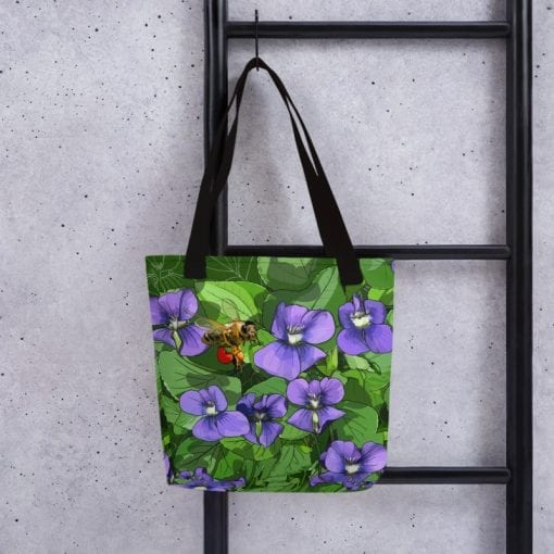 Violets + Honeybee Tote Bag