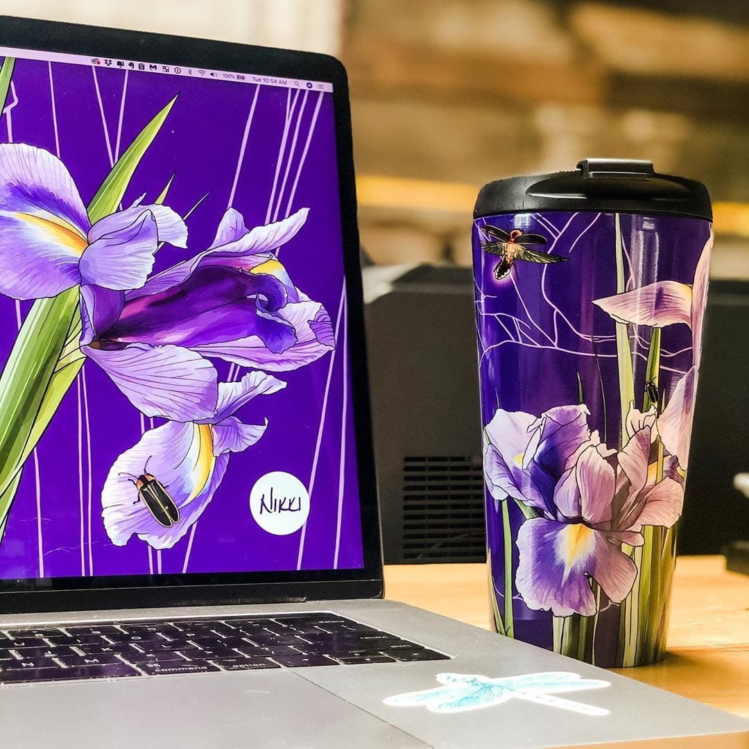Accidentally matched my travel coffee mug to my computer wallpaper today!