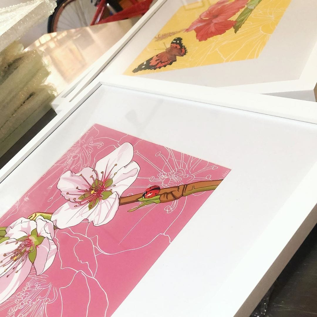I'm currently framing stacks and stacks of prints of my state flowers and insects to hang this week at