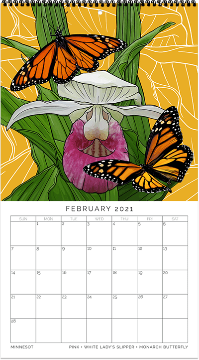 2021 State Flowers + Insects Calendar